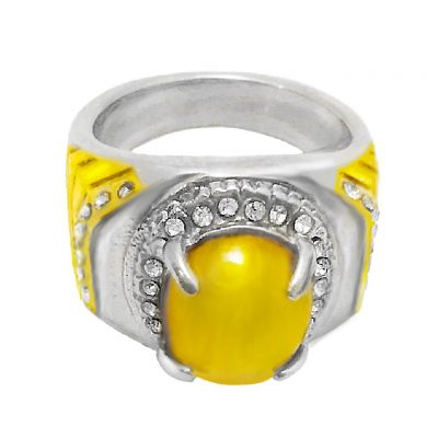 Yellow Agate Amulet Ring Supporting Detoxification Metabolism and Heart