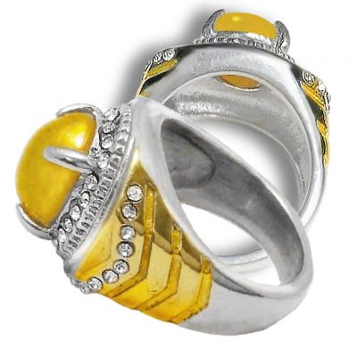 Yellow Agate Talisman Ring Supporting Detoxification Metabolism and Heart