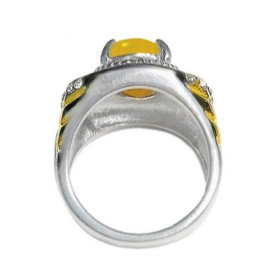 Yellow Agate Talismanic Silver Ring Supporting Detoxification Metabolism and Heart